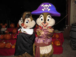 we posed with both chip dale before the movie started below left before walking around the campground at night to see all the spooky campsites below